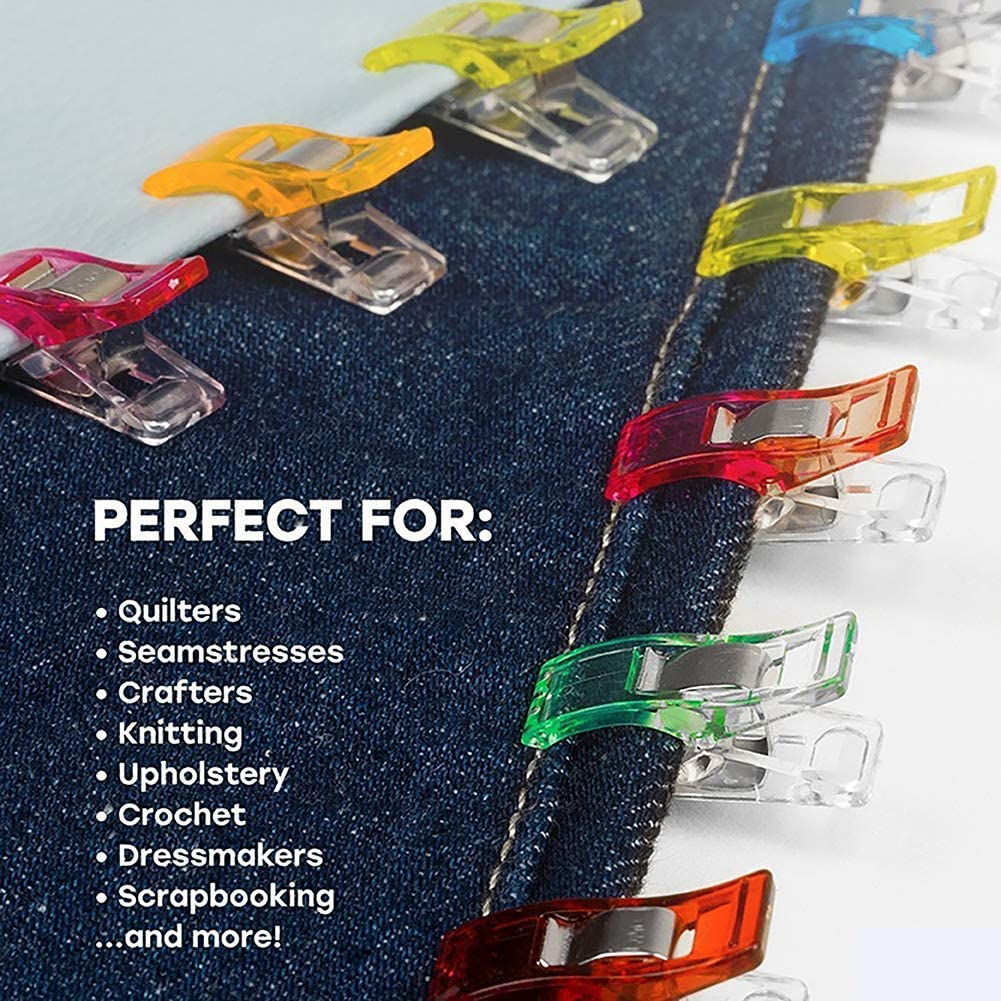 50Pcs Sewing Craft Quilt Binding Plastic Clips Clamps Multicolored