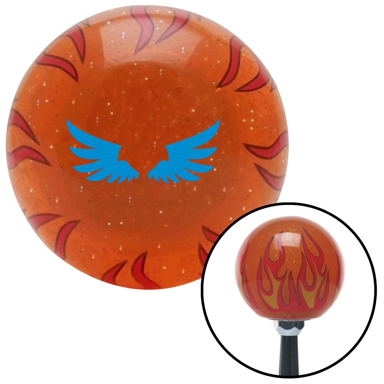 American Shifter 253742 Orange Flame Metal Flake Shift Knob with M16 x 1.5 Insert Blue Wing of Royalty