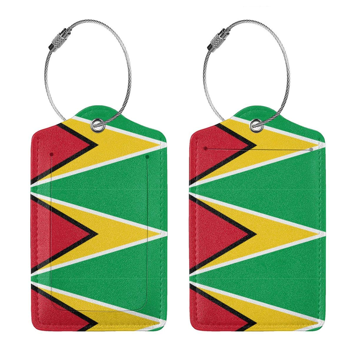 Flag Of Guyana Leather Luggage Tags Personalized Travel Accessories With Adjustable Strap