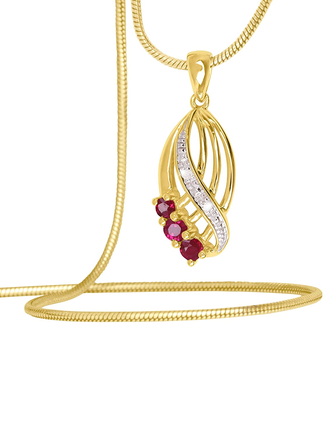 Ladies Pendant Ruby geniune Gold 333 8 carats Necklace Yellow Gold Quality New