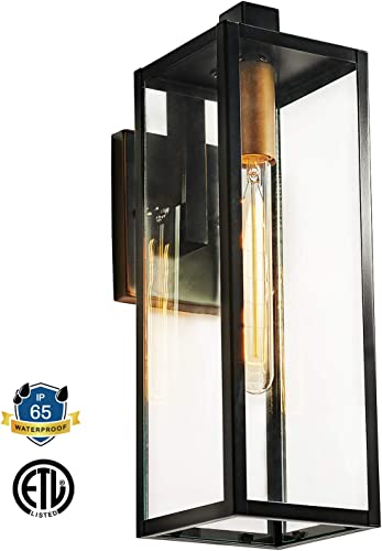 MOTINI 1-Light Outdoor Wall Lantern Oil Rubbed Bronze Waterproof Cuboid Classic Wall Sconces with Clear Glass Shade Security Wall Lighting for Entryway Porch Patio Doorway ETL Listed, 17.25 Height