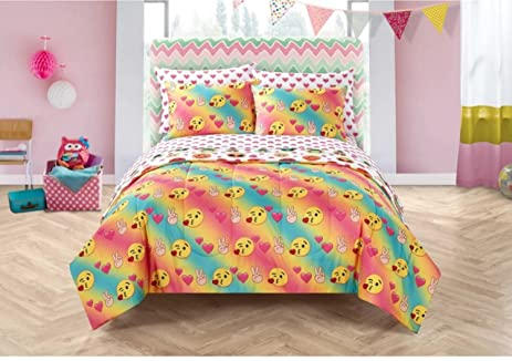 7 Piece Colorful Emoji Pals Motif Bed In A Bag Set Queen Size, Featuring  Hearts