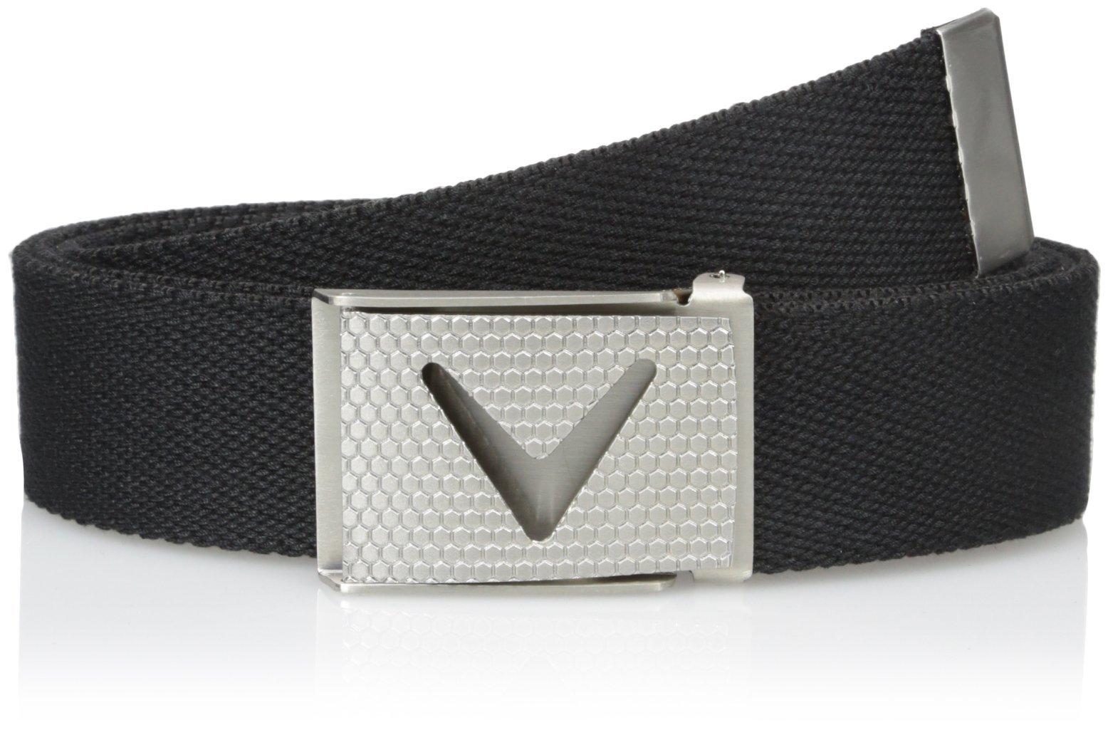 Callaway Men's Golf Cut To Fit Solid Webbed Belt, Black (002), One Size