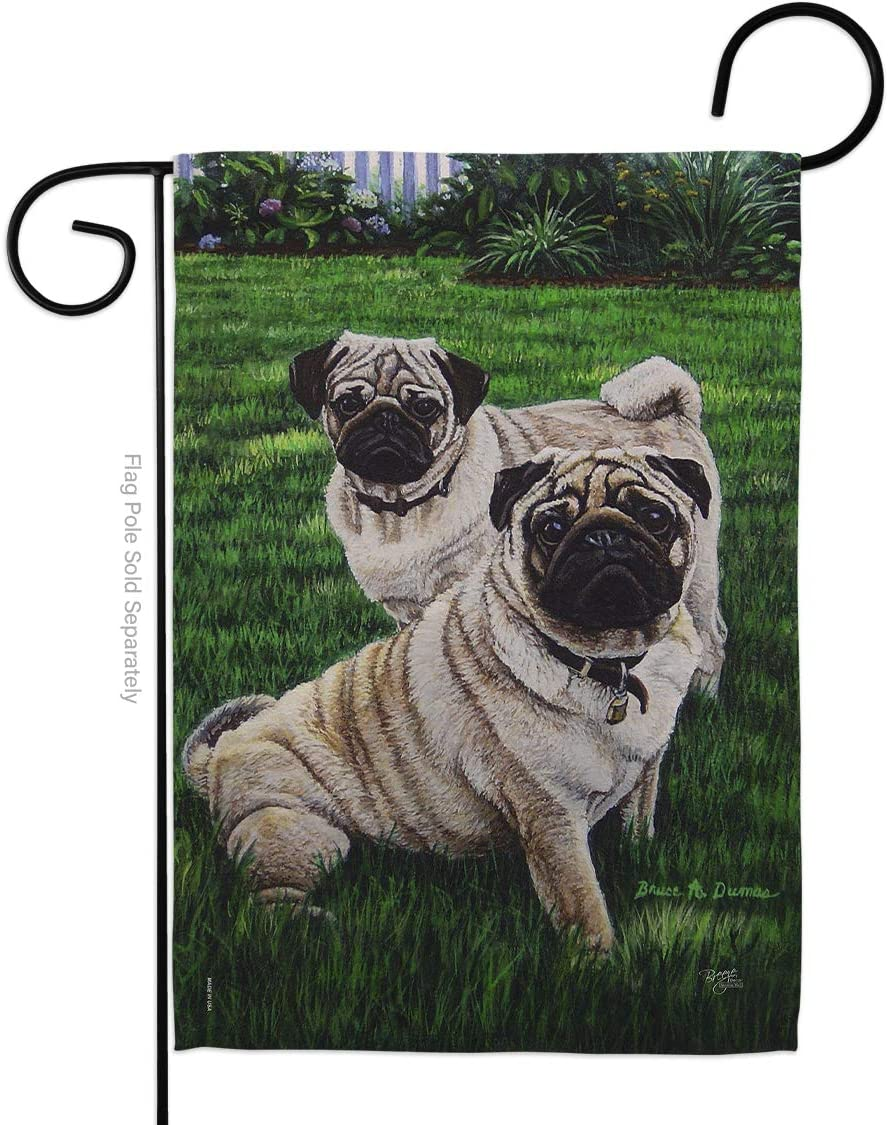 Breeze Decor Dog Pugs Love Garden Flag Animals Puppy Spoiled Paw Canine Fur Pet Nature Farm Animal Creature Small Decorative Gift Yard House Banner Double-Sided Made in USA 13 X 18.5