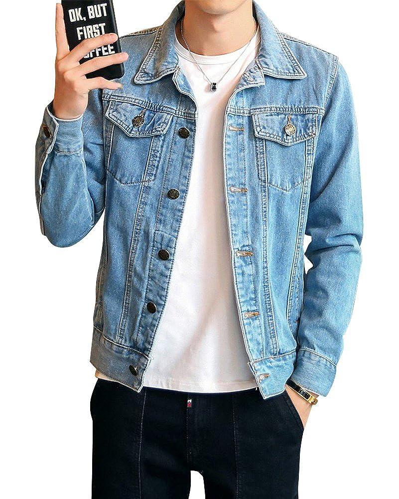 Denim Jacket de Manga Larga para Hombre Vintage Outwears ...