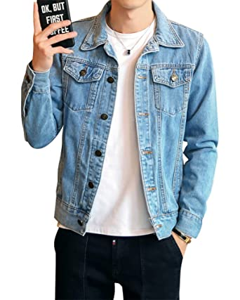 Homme Veste en Jean Denim Jacket Manche Longue Manteau Loisirs Slim Fit Veste Denim
