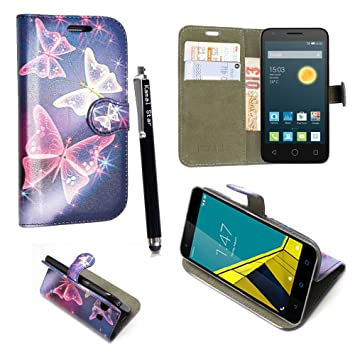 low priced 430e3 ae6d6 Alcatel PIXI 4 (4.0 inch) 3G Case - Kamal Star® Various PU Leather Magnetic  Case Cover + Free Stylus (Butterfly Blue Book)