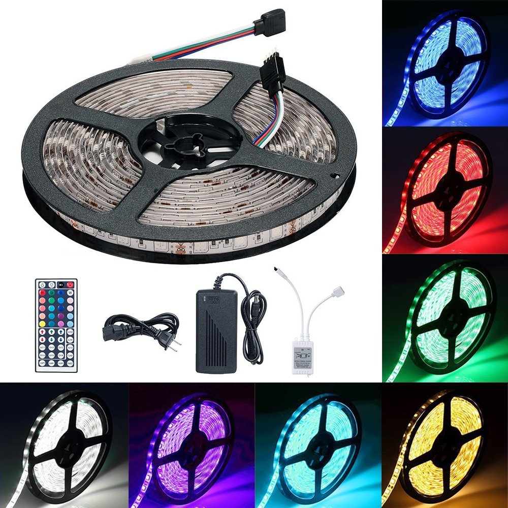 LED Light Strip Kit, Targher RGB LED Strip Waterproof SMD 5050 RGB 16.4Ft/5M 300 LEDs with 44Key Remote Controller and Power Supply for Holiday Party Outdoor Decoration by Targher (Image #1)