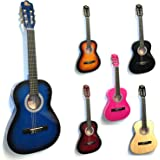 RayGar 3/4 Size Blue Classical Guitar Pack For Kids beginners- Suit 9 To 12 Years - Inc Bag, Strap, Picks, Pitch Pipes - New