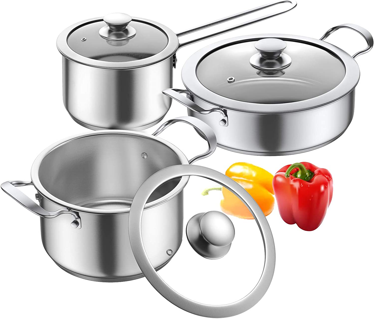 Cookware Set, Elegant Life 6-Piece Pots and Pans Set with Glass Lids, Premium 18/10 Stainless Steel Saucepan, Even Heating, Stovetop & Dishwasher Safe(silver)