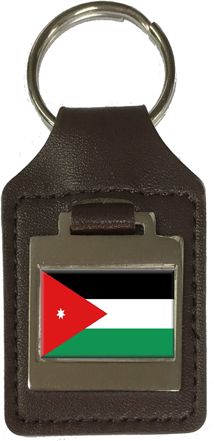 Leather Keyring Engraved Jordan Flag