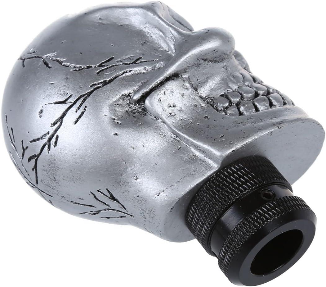SODIAL 3 Plastic Connectors Metal Skull Head Truck Car Gear Shift Knob R