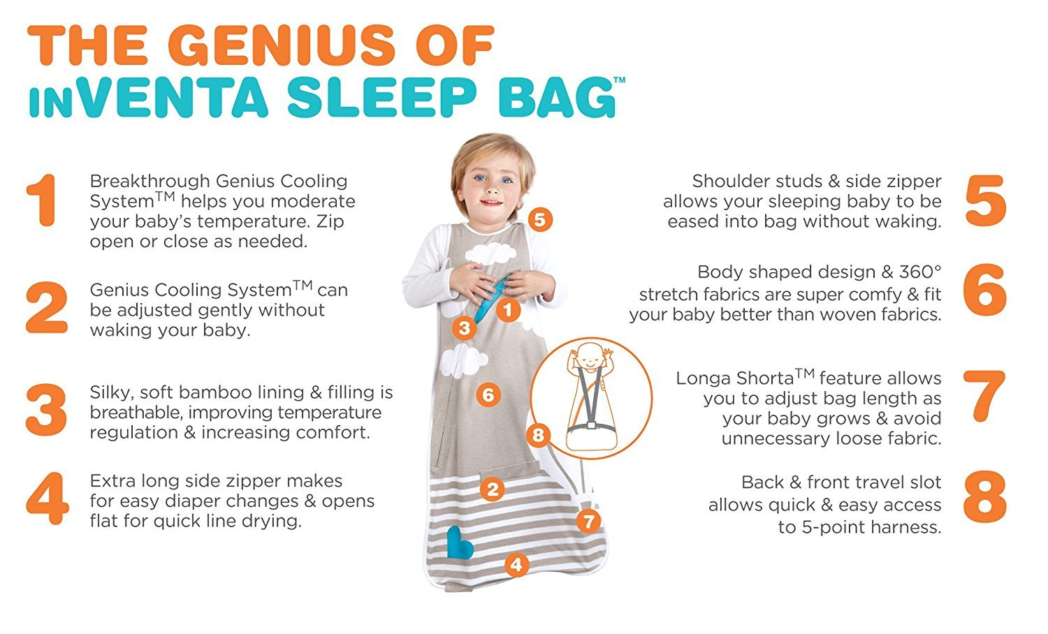 Love To Dream Inventa Lightweight Sleep Bag/Wearable Blanket with Unique Vented Cooling System, Luxurious Super-Soft CotTon, Stylish Fashion Design, .5 TOG, 4-12 Months, Light Blue by Love to Dream (Image #3)