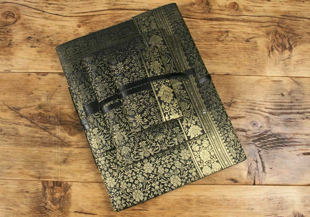 Life Arts Handmade Sari Silk Photo Album, Large Black by Life Arts (Image #2)
