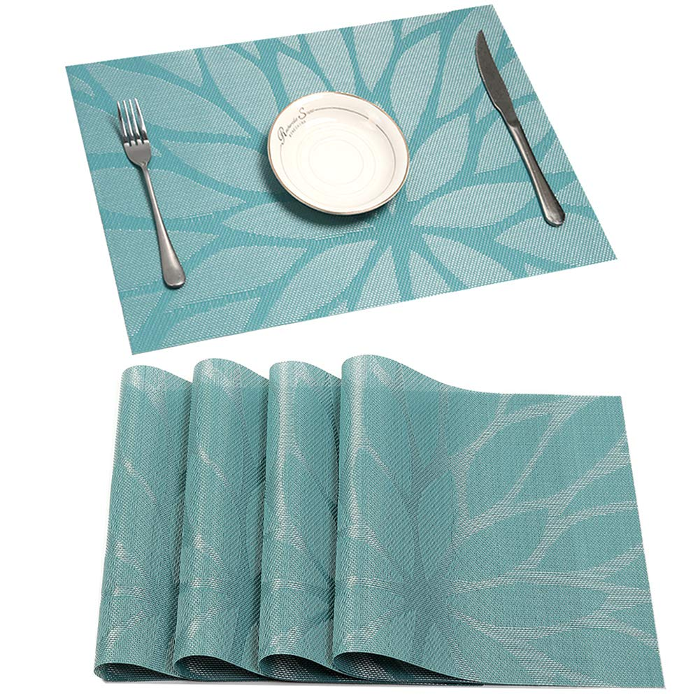 HEBE Placemats Set of 4 Heat Resistant Placemat for Dining Table Indoor Outdoor Washable Crossweave Woven Vinyl Kitchen Table Mats(4, Blue)