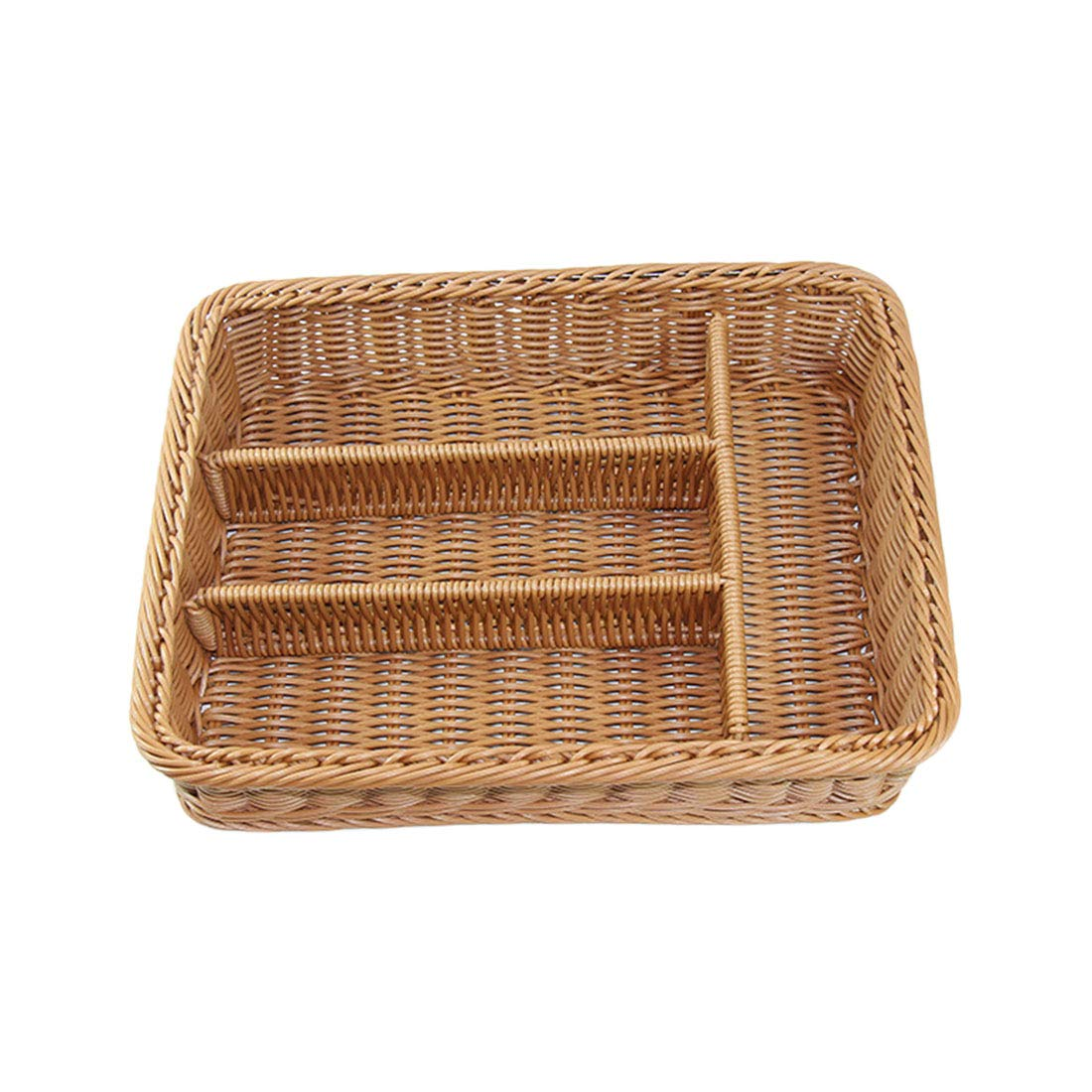 Qianle Rattan Cutlery Utensil Organizer Display Trays Table Basket for Home Organization Solutions(Rattan/4 grids/#1)