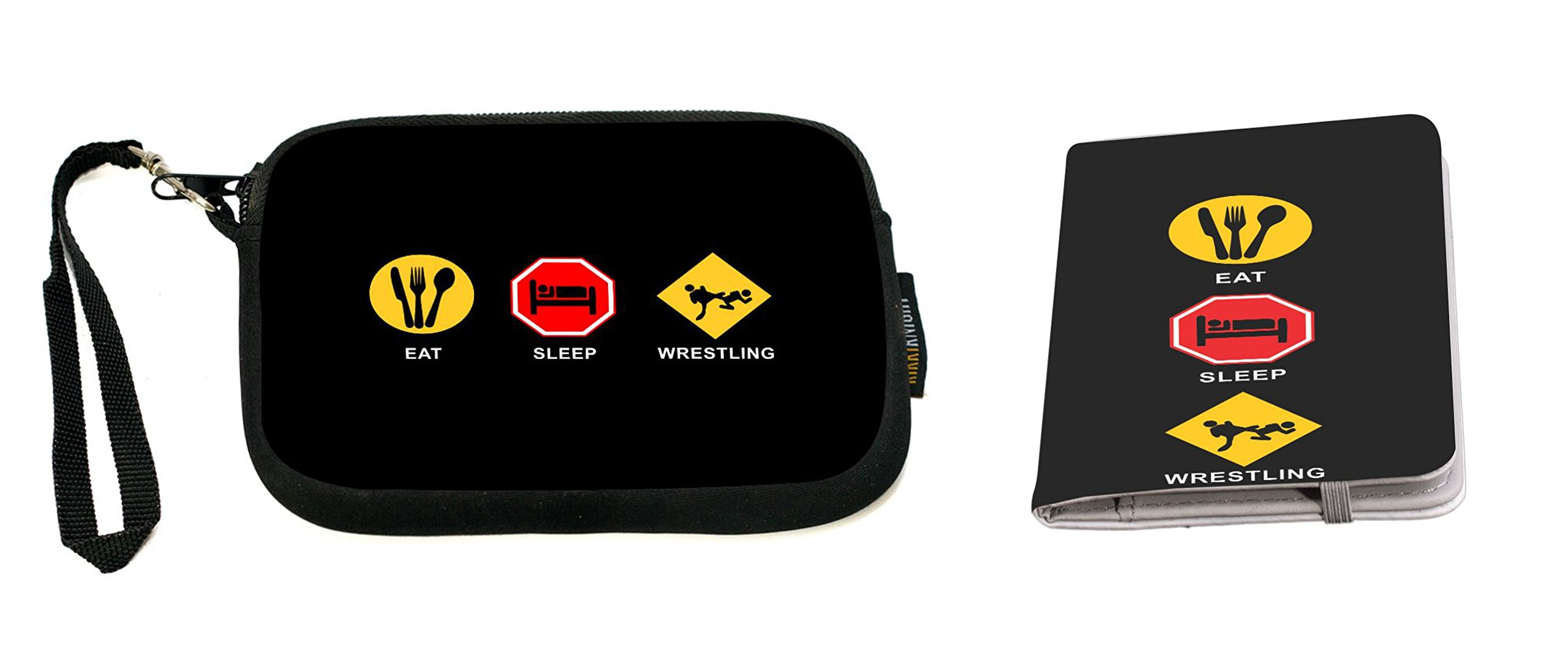 Rikki Knight Eat Sleep Wrestling Design Neoprene Clutch Wristlet with Matching Passport Holder