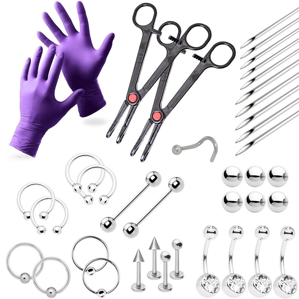 38-Piece Professional Piercing Kit - Lip, Nipple, Belly, Eyebrow, Tongue, Ear Piercing Jewelry - Needles, Gloves and Tools Included