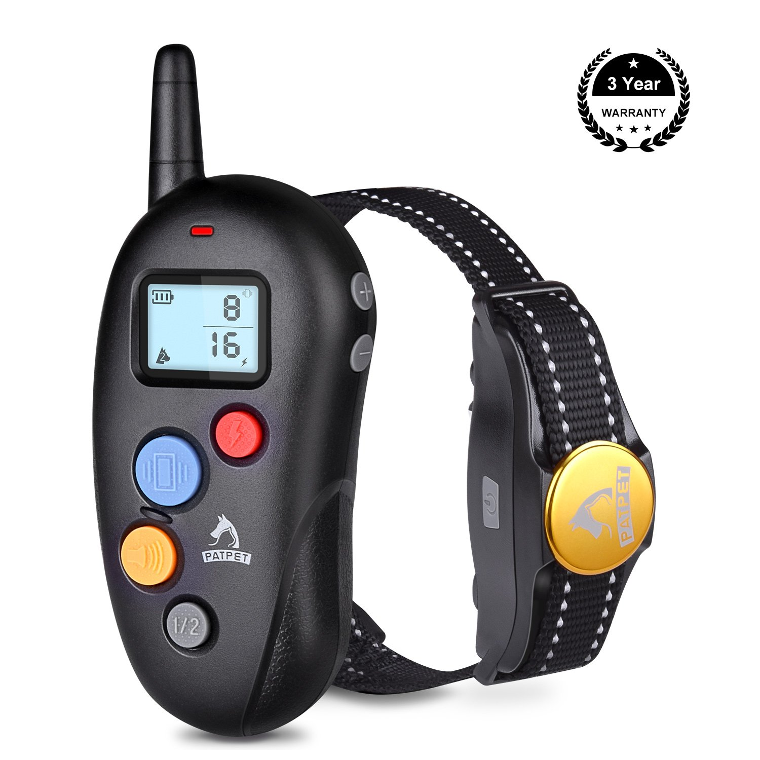 Black TOPPLE Rechargeable Dog Training Collar with Remote Waterproof Dog Shock Collar with Remote Bark Collar for Dogs Small Medium Large 10-88lbs