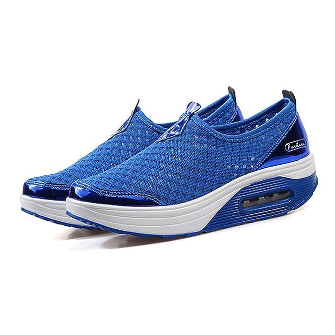 Amazon.com | Baqijian Summer Women Flat Platform Shoes Woman Casual Air Mesh Shoes Slip On Gray Fabric Shoes Zapatos Mujer | Flats