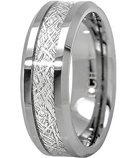 8MM Tungsten Carbide Meteorite Mens Wedding Band RingAmazoncom