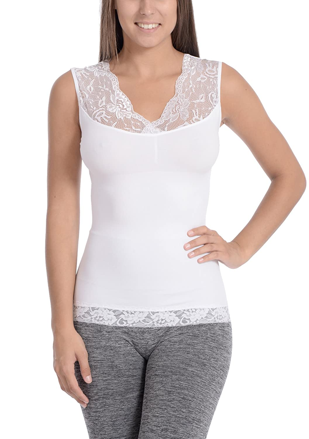 Body Beautiful Women's Shapewear Seamless V-Neck Shaping Cami with Lace Neck & Trim ROSC1_1124