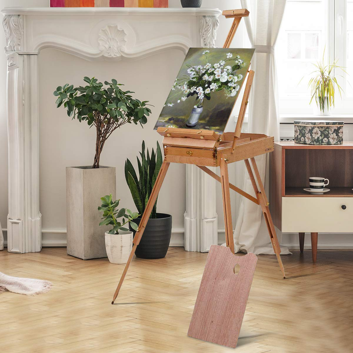 Tangkula Wooden French Easel Stand with Sketch Box, Drawer & Palette Foldable Folding Portable Easel Case with Shoulder Strap Solid Beech Wood Construction Art Easel by Tangkula