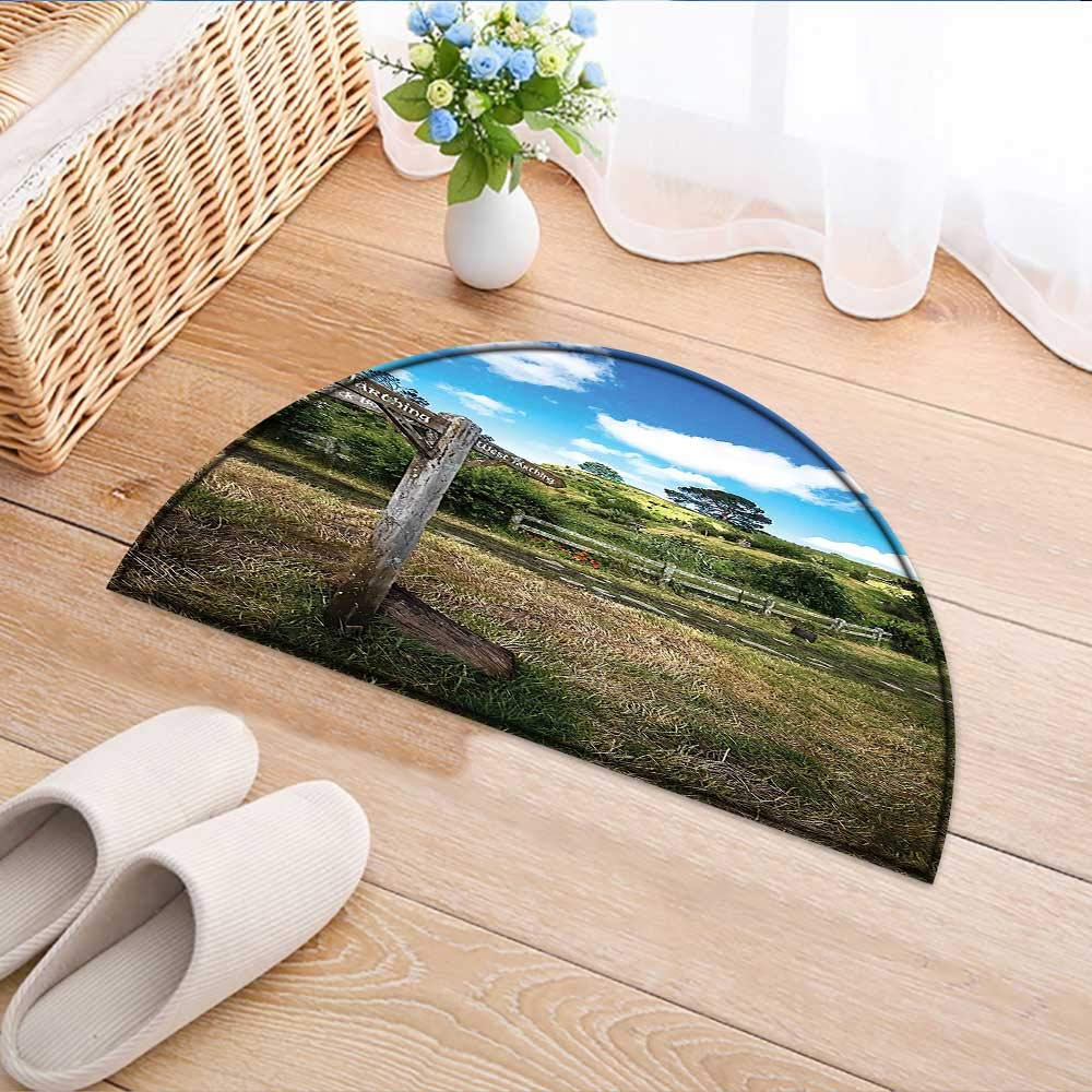 Kitchen Rugs Floor mats Wooden Sign in Hobbit Land East West Farthing Movie Set New Zealand The Waterproof Semi-Circular Door Mat Floor Mats W33 x H22 INCH