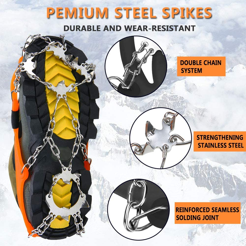 Jogging Climbing and Hiking Fishing Mountaineering 19 Micro Spikes Ice Crampons for Walking Unizooke Crampons Ice Cleats for Women Men,Traction Snow Grips