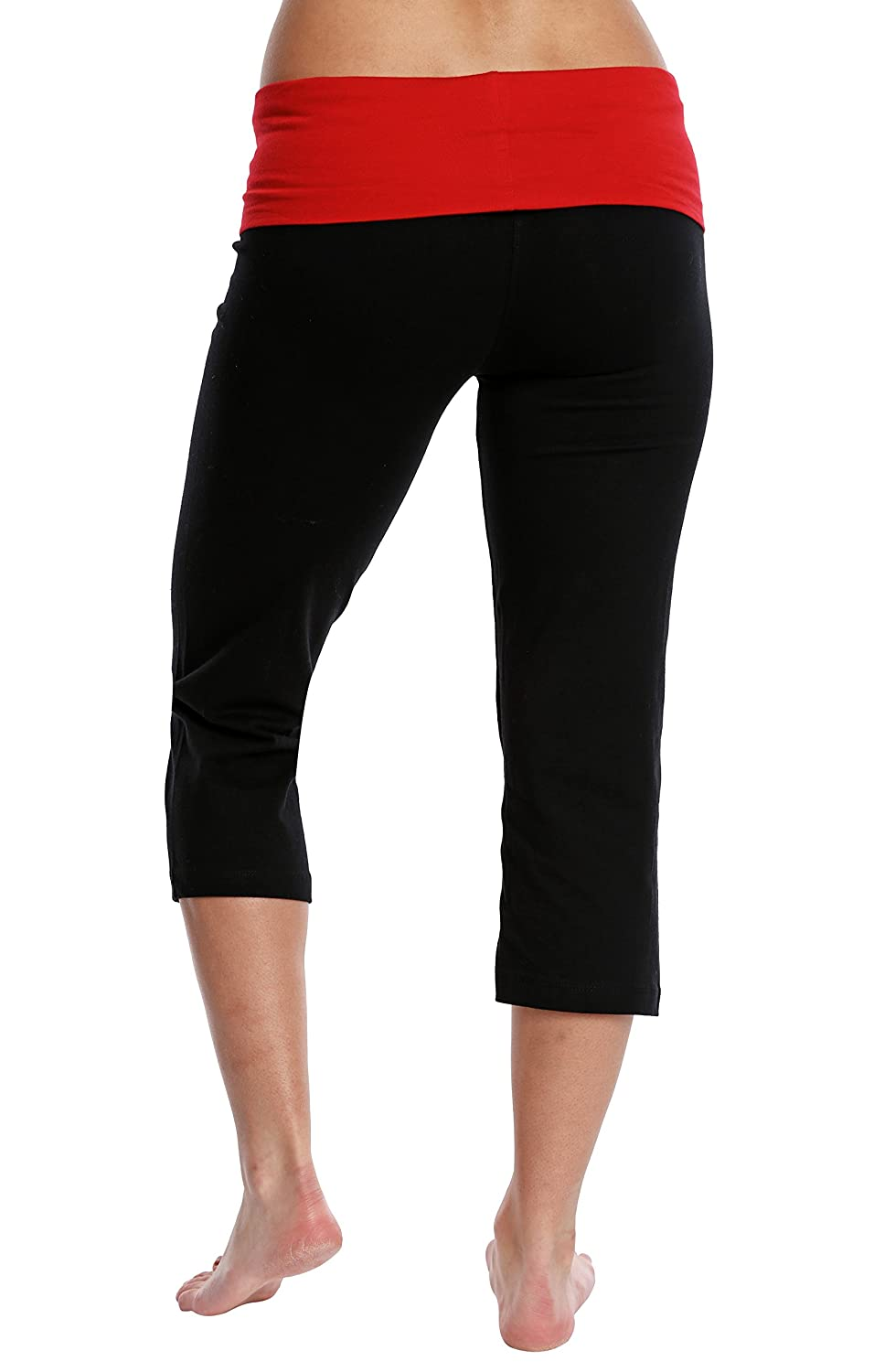 Nouveau Womens Workout Active Capri Yoga Pants with Contrasting Color Waistband Casual Loungewear