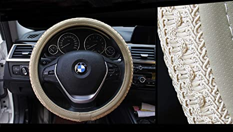 Amazon.com: ZJWZ Embroidered Ice Silk Leather Steering Wheel Cover Anti-Skid Car Handle Car Interior Products38cm,Gray: Kitchen & Dining