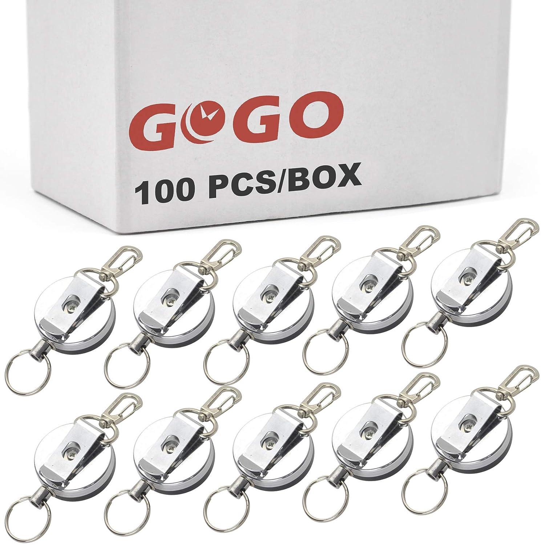 GOGO - Llavero retráctil de alambre de acero con cierre de ...