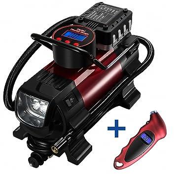 OMORC Compresor Aire Portátil, Automática con Manómetro para Neumático con Pantalla Digital luz LED, Inflador Electrico Bomba de Aire para Coche, ...