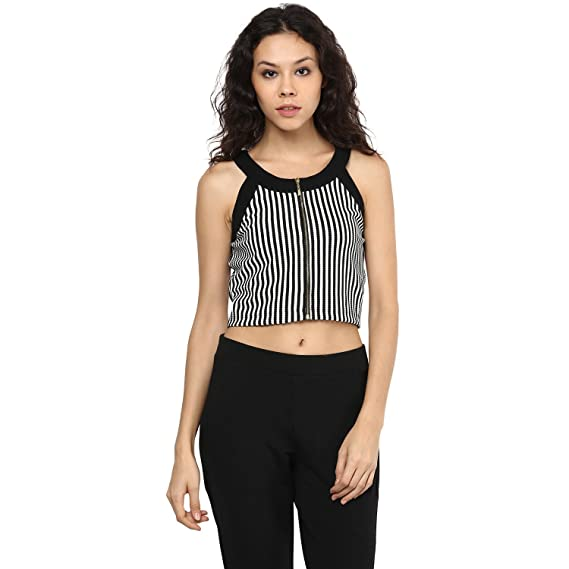 d0831f2dba8bfe 109 F Women Polyester Straight Stripe with Front Open Zip Crop Top ...