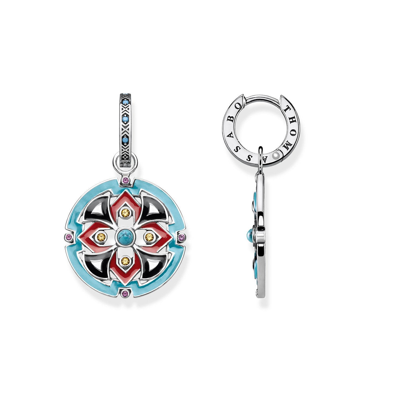 5011891b4 THOMAS SABO Women hoop earrings Asian ornaments 925 Sterling Silver,  Blackened, Black, Red, Turquoise Enamelled CR599-346-7: Amazon.co.uk:  Jewellery