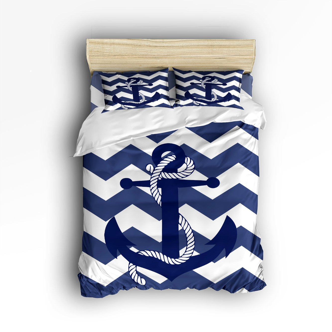 4 Pieces Home Comforter Bedding Set, Custom Nautical Navy Blue Anchor King Size
