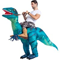 Spooktacular Creations Inflatable Costume Dinosaur Riding a Raptor Air Blow-up Deluxe Halloween Costume - Adult Size