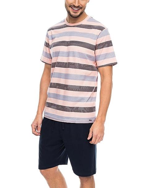 Rossli SAM-PY 085 Pijama De Dos Piezas Para Hombres Camiseta De Manga Corta Pantalón