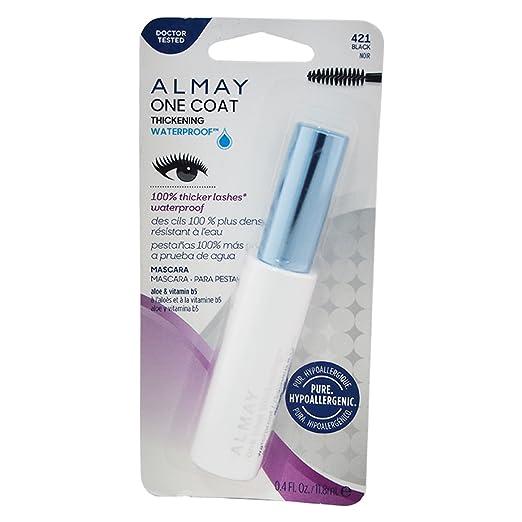 Almay One Coat Nourishing Mascara, Thickening, Waterproof, Black 421, 0.4-Ounce Package