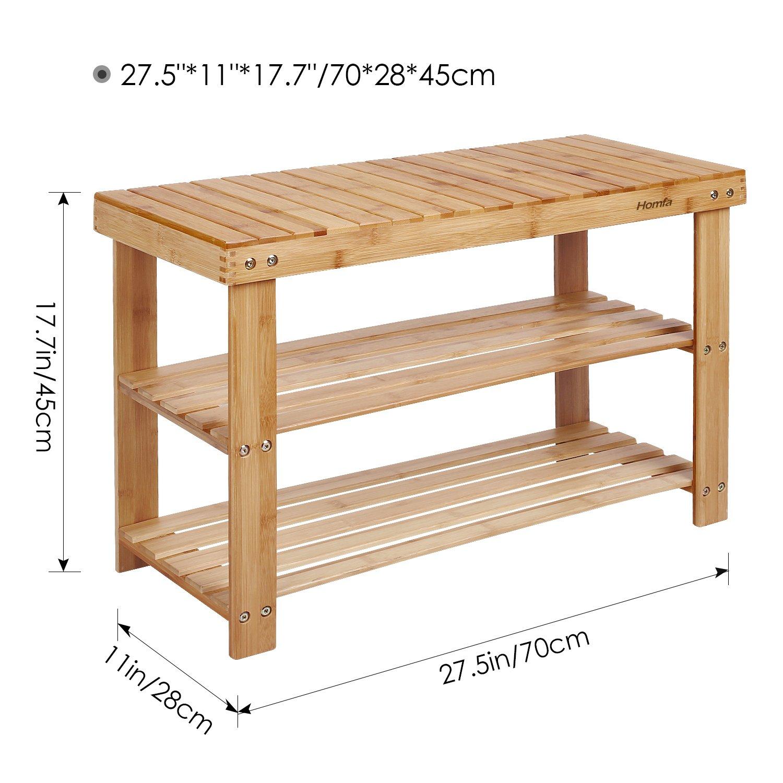 Amazon com homfa natural bamboo shoe rack bench 2 tier shoe organizer entryway seat storage shelf hallway furnitureq12 4 kitchen dining
