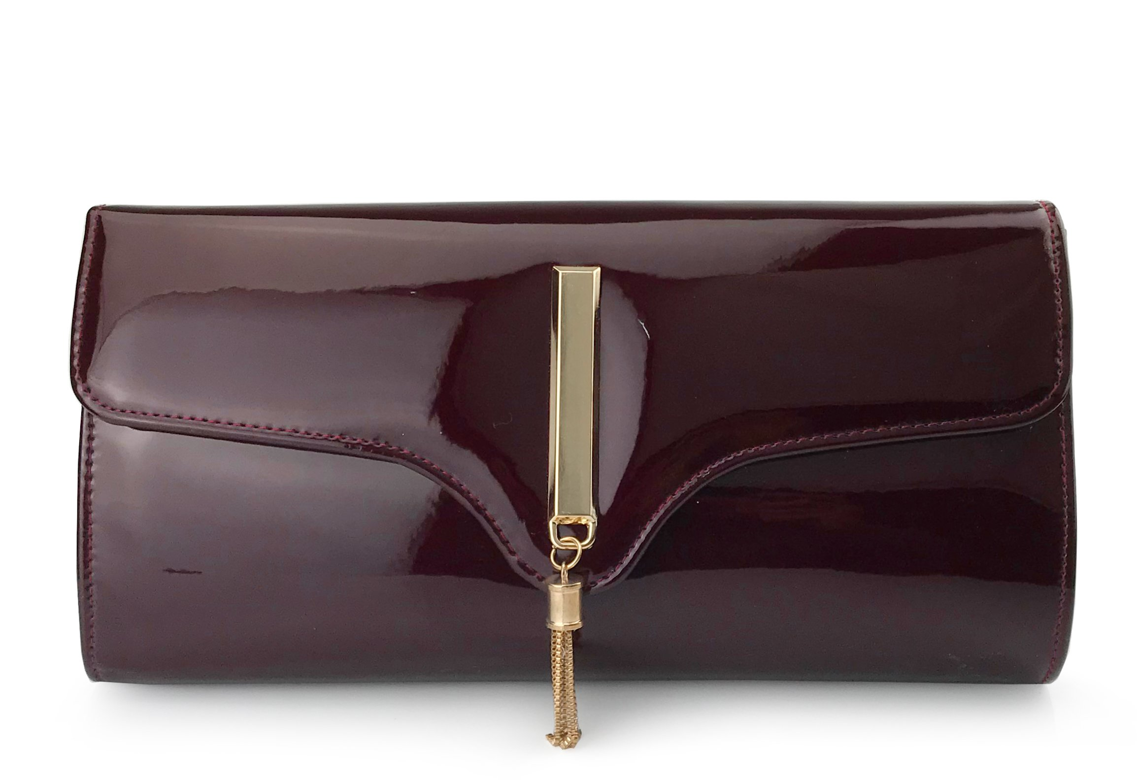 Tassel Women's Glossy Evening Clutch With Chain Strap Wedding Cocktail Party Concert Purse (Burgundy)