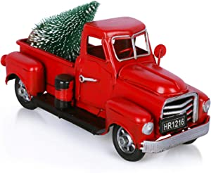 Fowecelt Vintage Christmas Red Truck for Christmas Decor Table Top Decorations Home Holiday Xmas Supplies, Handcrafted Red Truck Car Model Gift with Mini Christmas Trees