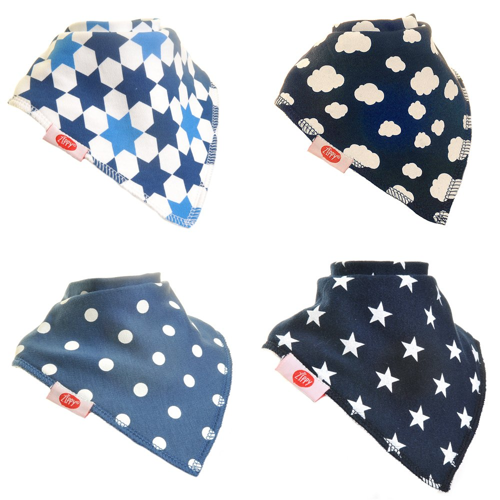 Bandana Dribble Bibs, Super Absorbent For Teething Baby Boys,4 Pack (Just Blues) Ziggle 6211