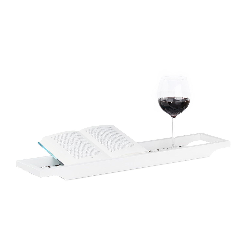 Relaxdays Badewannenablage aus Bambus, Badewannenbrett, Tablett für Badewanne, HxBxT: 4 x 65 x 15 cm, weiß lackiert Tablett für Badewanne weiß lackiert 10020927