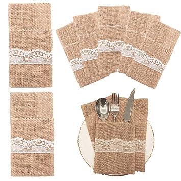 20pcs Natural Burlap para utensilios bolsa de soportes cuchillos tenedores cubertería bolsa fiesta novia ducha boda