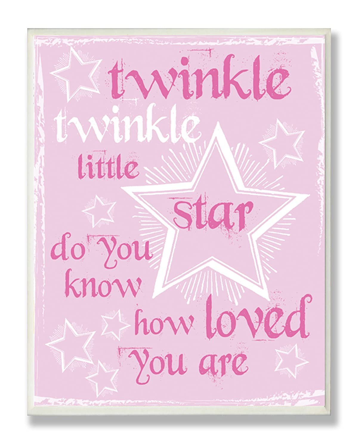 The Kids Room by Stupell Twinkle Twinkle Nursery Rhyme on Pink Rectangle Wall Plaque brp-1488