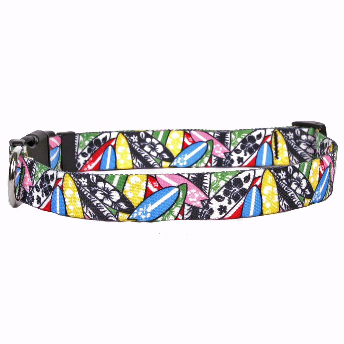 Yellow Dog Design Surfboards Dog Collar with Tag-A-Long ID Tag System-Small-3/4'' Wide and fits Neck 10 to 14''