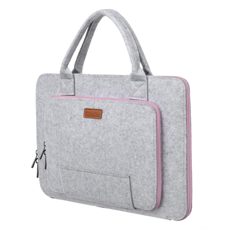 Ropch Laptop Tasche 15,6 Zoll Filz Sleeve Hülle für Acer / Asus / Dell / HP / Lenovo -Grau & Schwarz GFHB0055