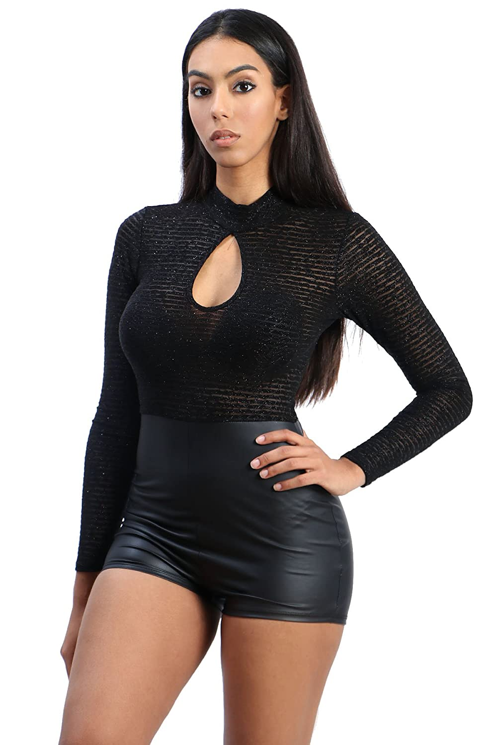 Women Long Sleeve Sparkle PU Leather Romper With Keyhole Accent