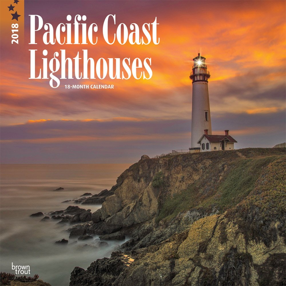 Lighthouses, Pacific Coast 2018 12 x 12 Inch Monthly Square Wall Calendar, USA United States of America West Coast Scenic Nature (English, French and Spanish Edition) (Spanish) Calendar – Wall Calendar, June 1, 2017 BrownTrout Publishers 1465090444 Travel